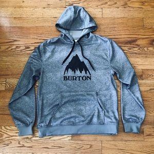 Grey Burton Fleece-Lined Hoodie w/Zip Pocket